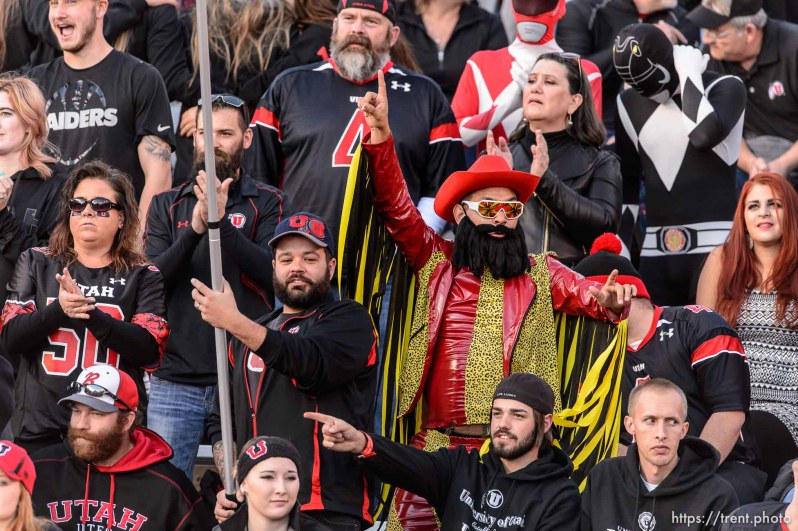 "Trent Nelson | The Salt Lake Tribune A fan dressed up as Randy ""Macho Man"" Savage as the University of Utah hosts Oregon State on Halloween, NCAA football at Rice-Eccles Stadium in Salt Lake City, Saturday October 31, 2015."
